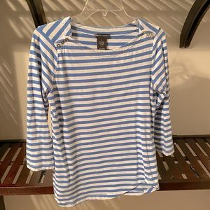 🍀 3 for $18   Blue and white striped top